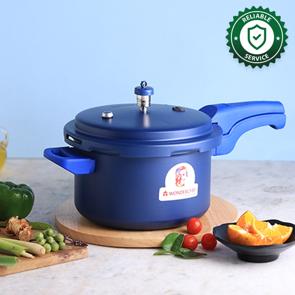 HealthGuard Induction Base Aluminium Nonstick Pressure Cooker with Outer Lid, 5L, Blue