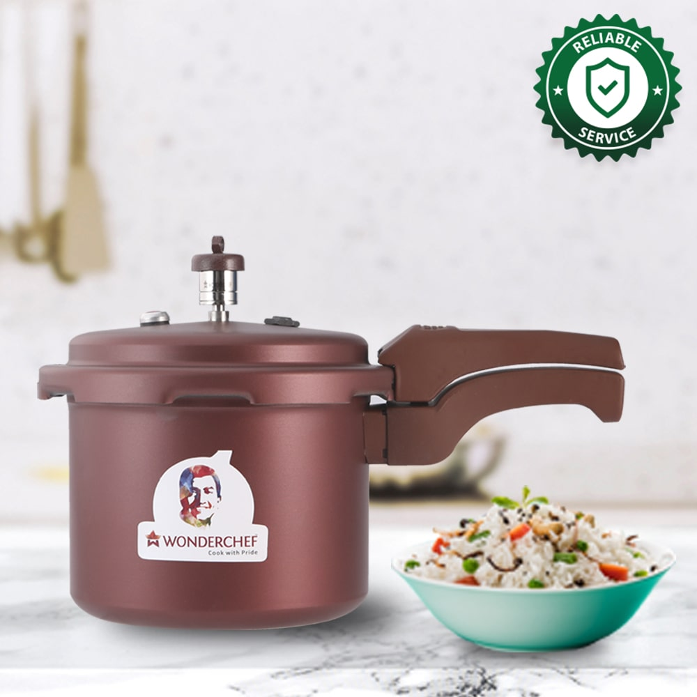 HealthGuard Induction Base Aluminium Nonstick Pressure Cooker with Outer Lid, 5L, Maroon