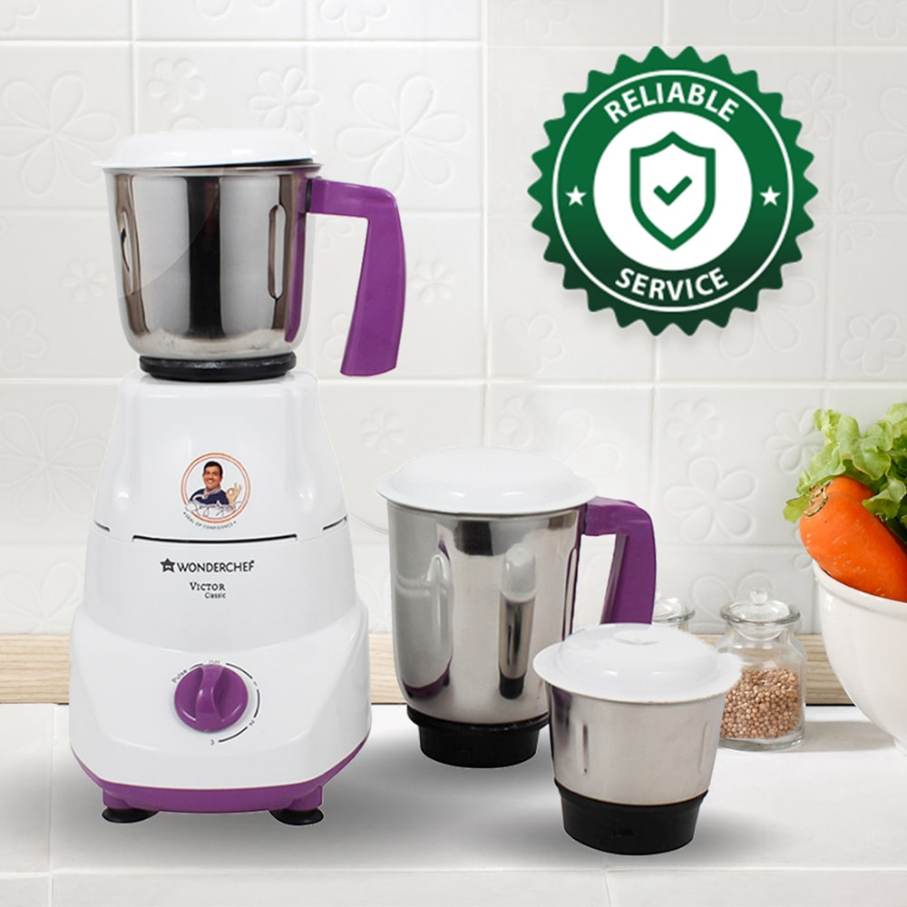 Victor Classic 500W Mixer Grinder With 3 Jars (White & Purple)