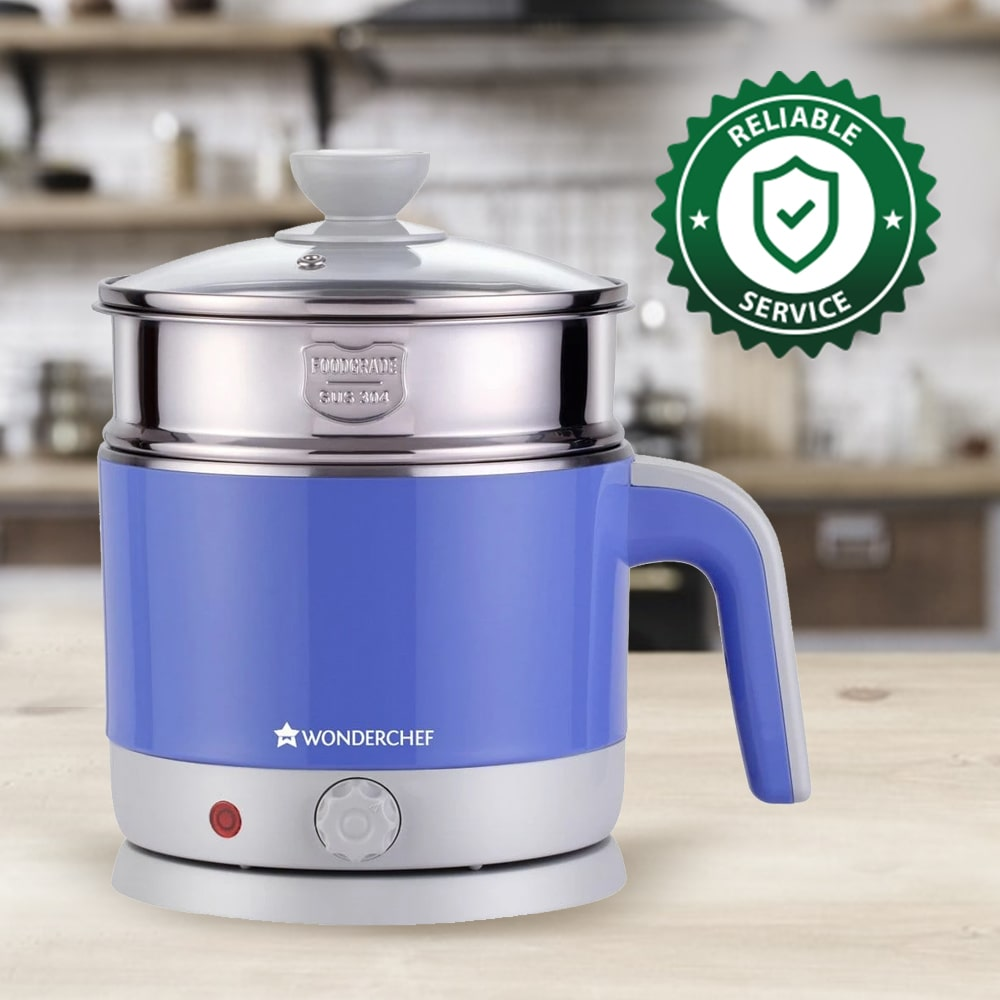 LUXE Multicook Stainless Steel 1.2 L Electric Kettle, 1000W, Blue