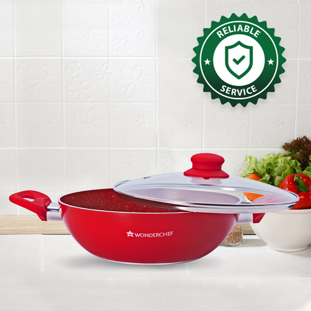 Royal Velvet Non-stick Wok with Lid, Induction bottom, Soft-touch handle, Virgin grade aluminium, PFOA/Heavy metals free, 3 mm, 24cm, 2.7 Litres, 2 years warranty, Red