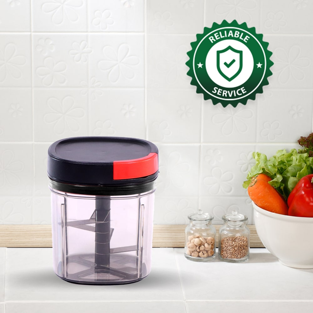 Glory String Vegetable Chopper with 6 Sharp SS Blade, Anti Slip Silicon Base Ring, Air Tight Lid, 900Ml, 1 Year Warranty
