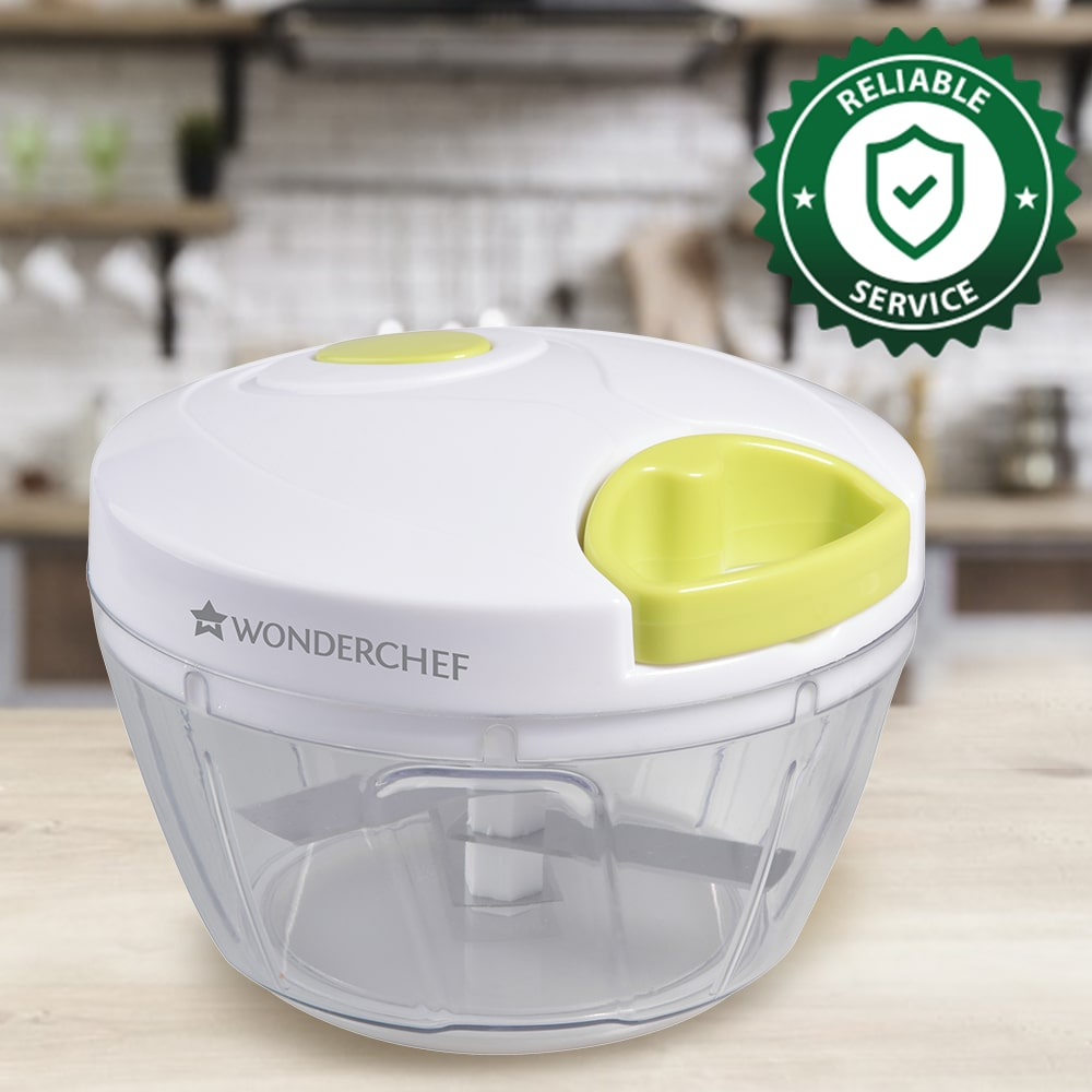 Classic String Vegetable Chopper with 3 Sharp SS Blade, Anti Slip Silicone,Compact,1 Year Warranty White and Green