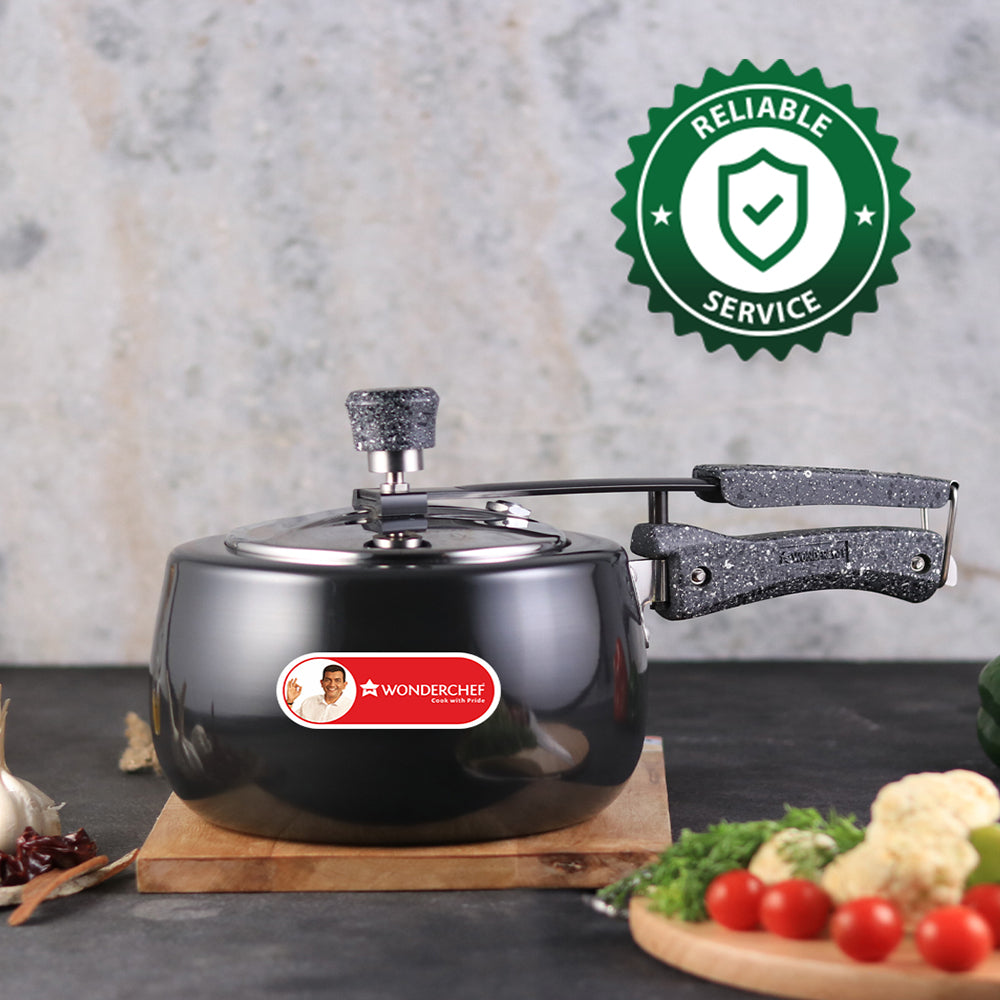 Taurus Induction Base Hard Anodized Pressure Cooker with Inner Lid, 3L, Black