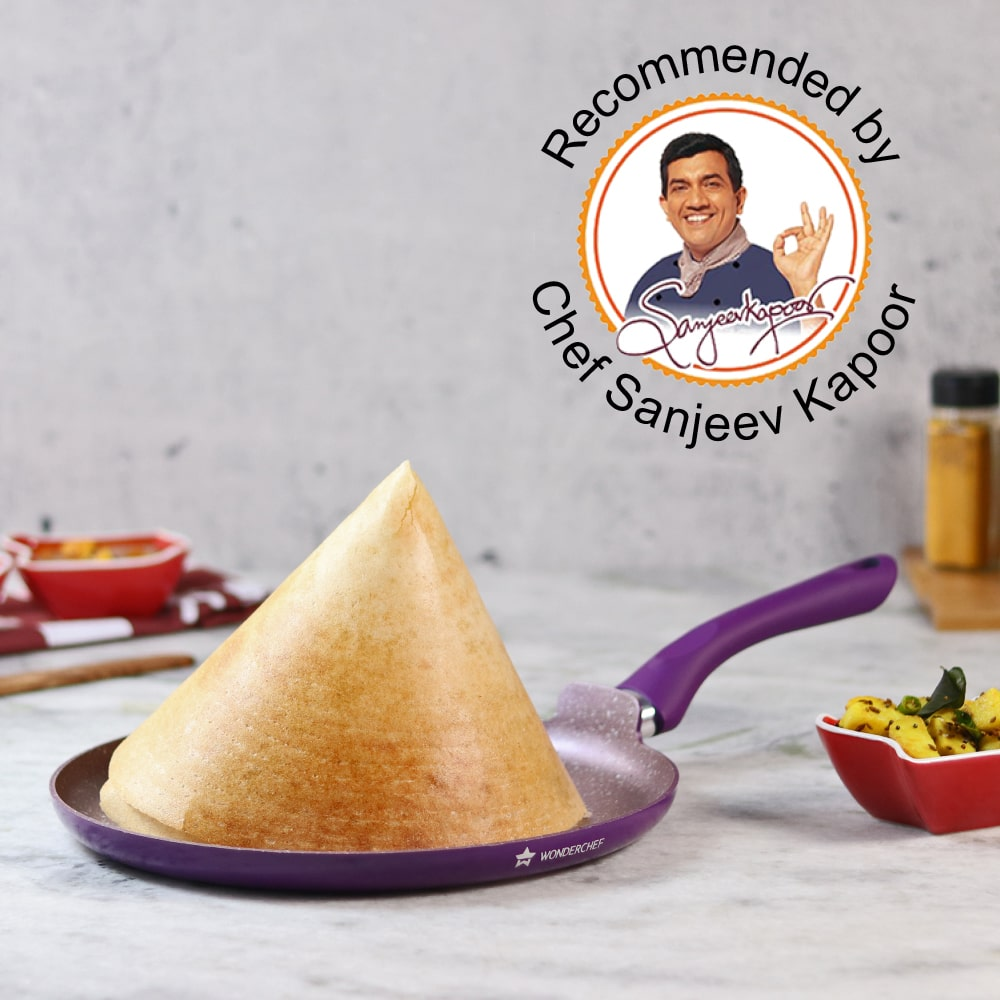 Royal Velvet Non-stick Dosa Tawa, Induction bottom, Soft-touch handle, Virgin grade aluminium, PFOA/Heavy metals free, 3 mm,  2 years warranty, Purple