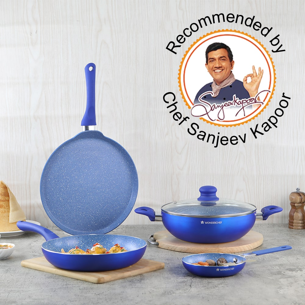 Royal Velvet Non-stick 5-piece Cookware Set (Fry Pan with Lid, Wok, Dosa Tawa, Mini Fry Pan) Induction bottom, Soft-touch handles, Virgin grade aluminium, PFOA/Heavy metals free, 3 mm, 2 years warranty, Blue