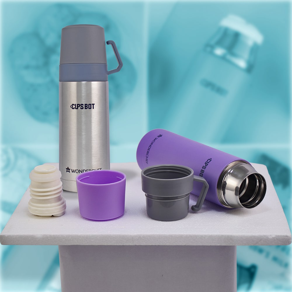 Cups-Bot Stainless Steel Vacuum Insulated Double Wall Hot and Cold Flask, Purple,