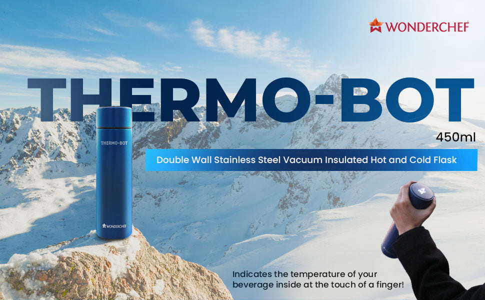 Thermo-Bot Double Wall Stainless Steel Vacuum Insulated Hot And Cold Flask, 450ml