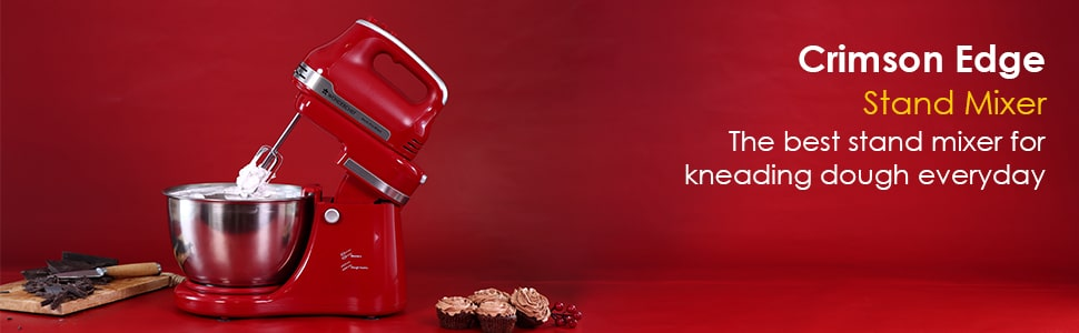 Stand Mixer, Beater And Dough Kneader Crimson Edge, 3 Attachments, 5 Speed Setting, 4.5L Bowl, 2 Years Warranty, 300W – Red