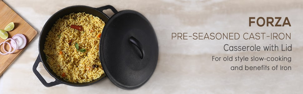 Forza Cast-iron Casserole With Lid, Pre-Seasoned Cookware, Induction Friendly, 25cm, 4.7L, 3.8mm, 5 Years Warranty