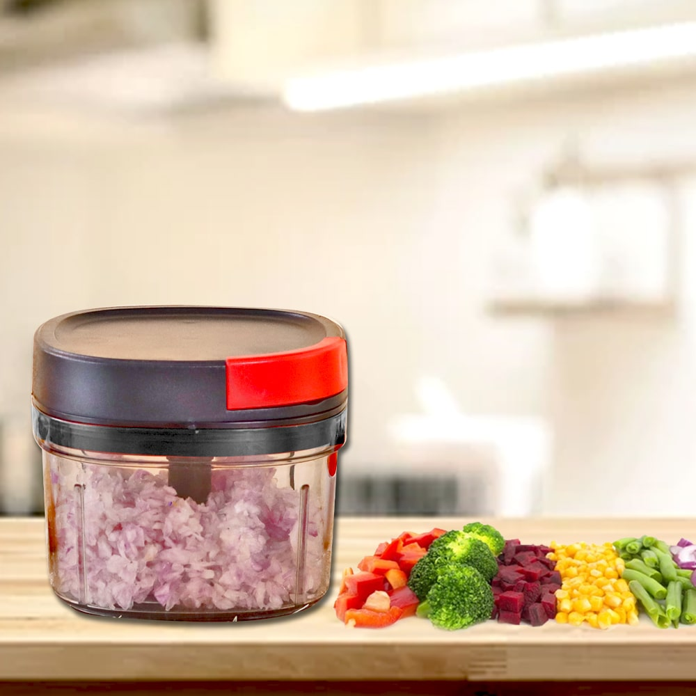 Glory String Vegetable Chopper with 3 Sharp SS Blade,  Anti Slip Silicon Base Ring, Air Tight Lid, 600Ml, 1 Year Warranty