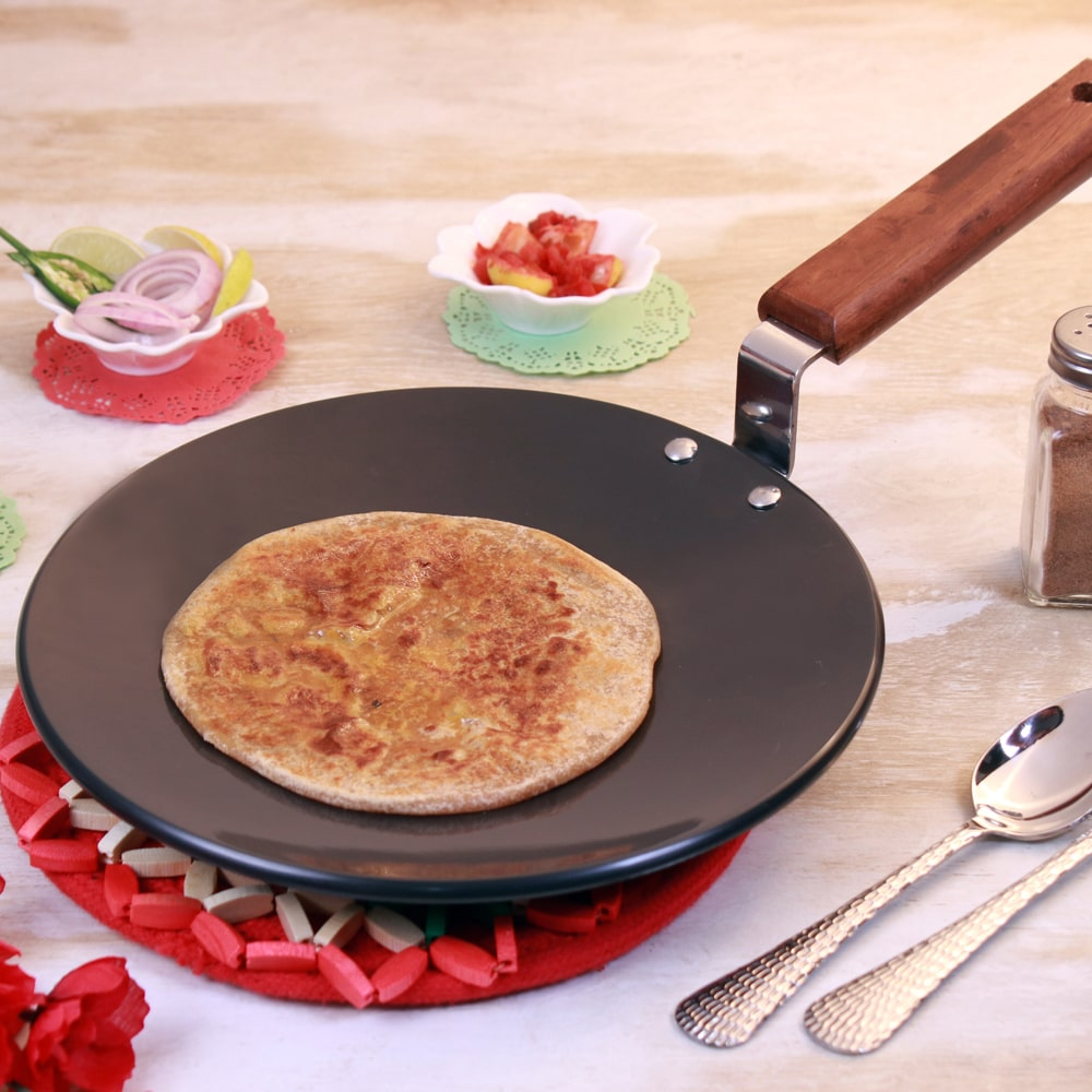 Ebony Hard Anodized Aluminium Roti Tawa 22cm, 4.06mm, Black