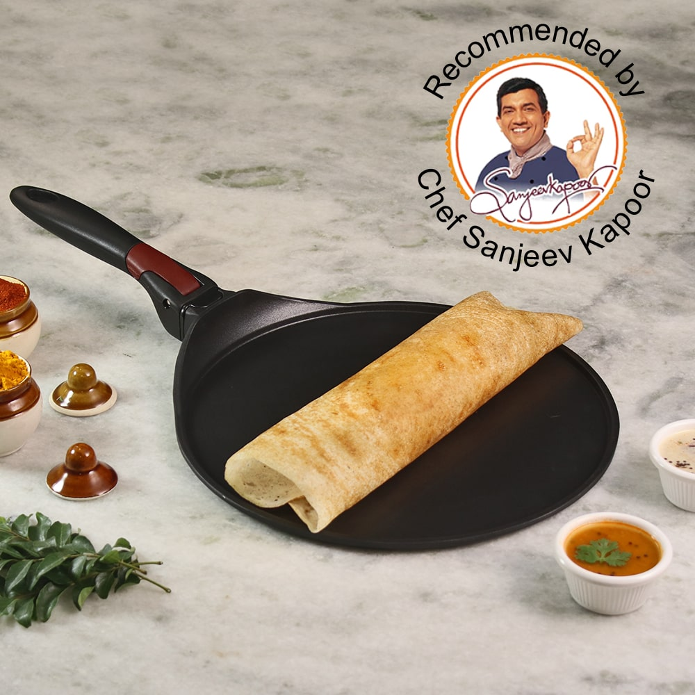 Wonderchef Click Space Saver Aluminium Nonstick Dosa Tawa - 30cm, 4mm, Black