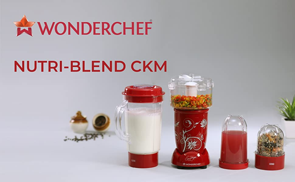 Wonderchef  Nutri-Blend Complete Kitchen Machine (CKM) - (Mixer, Grinder, Juicer, And Chopper)-Red