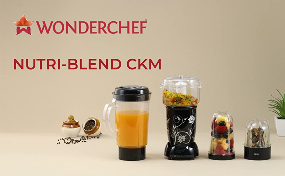 Nutri-Blend Complete Kitchen Machine (CKM) - (Mixer, Grinder, Juicer, And Chopper), 400W-Black