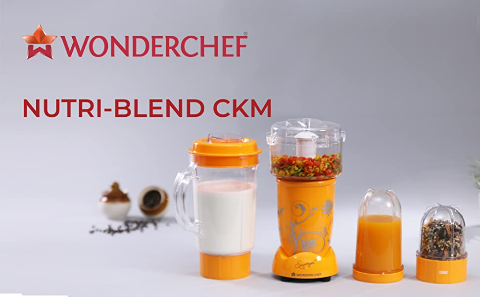 Nutri-Blend Complete Kitchen Machine, 22000 RPM Mixer-Grinder, Blender, Chopper, Juicer, SS Blades, 4 Unbreakable Jars, 2 Years Warranty, 400 W-Yellow, Includes Exclusive Recipe Book By Chef Sanjeev Kapoor