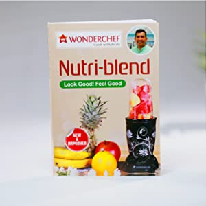 Nutri-Blend, 22000 RPM Mixer-Grinder, Blender, SS Blades, 3 Unbreakable Jars, 2 Years Warranty, 400 W-White, Includes Exclusive Recipe Book By Chef Sanjeev Kapoor