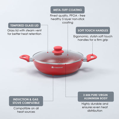Royal Velvet Non-stick Wok with Lid, Induction bottom, Soft-touch handle, Virgin grade aluminium, PFOA/Heavy metals free, 3 mm, 24cm, 2.7 Litres, 2 years warranty, Red-Cookware