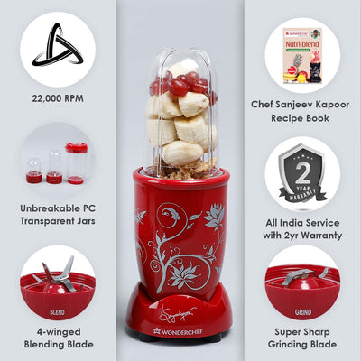 Nutri-Blend, 22000 RPM Mixer-Grinder, Blender, SS Blades, 3 Unbreakable Jars, 2 Years Warranty, 400 W-Red, Includes Exclusive Recipe Book By Chef Sanjeev Kapoor-Nutri-blend