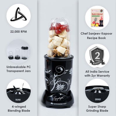 Nutri-Blend, 22000 RPM Mixer-Grinder, Blender, SS Blades, 3 Unbreakable Jars, 2 Years Warranty, 400 W-Black, Includes Exclusive Recipe Book By Chef Sanjeev Kapoor-Nutri-blend