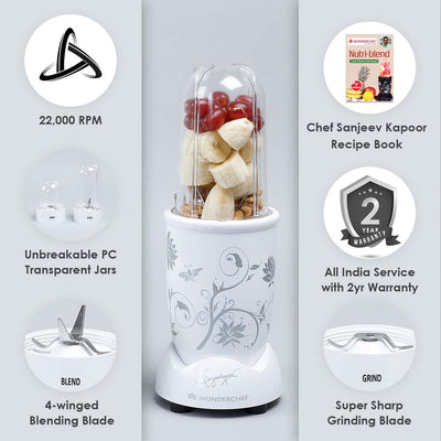 Nutri-blend, 22000 RPM Mixer-Grinder, Blender, SS Blades, 2 unbreakable Jars, 2 Years warranty, 400 W-White, includes Exclusive Recipe book by Chef Sanjeev Kapoor-Nutri-blend