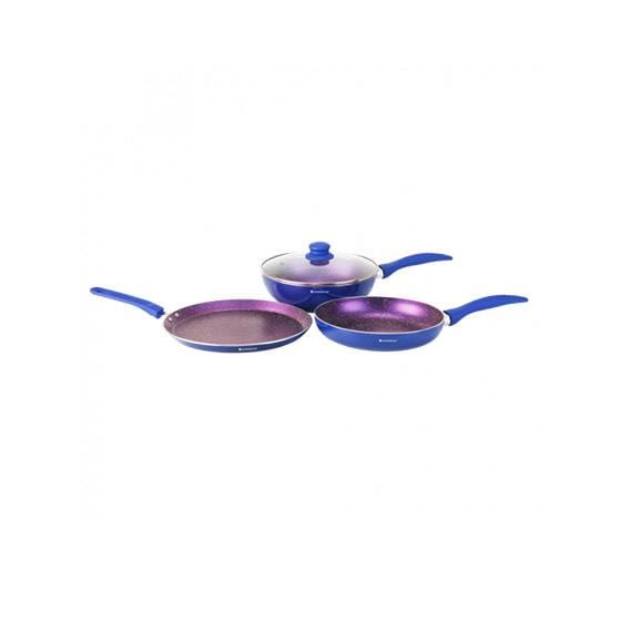Blueberry Aluminium Nonstick Cookware Set, 4Pc, Blue