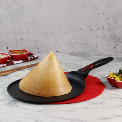 Wonderchef Click Space Saver Aluminium Nonstick Dosa Tawa - 30cm, 4mm, Black-Cookware
