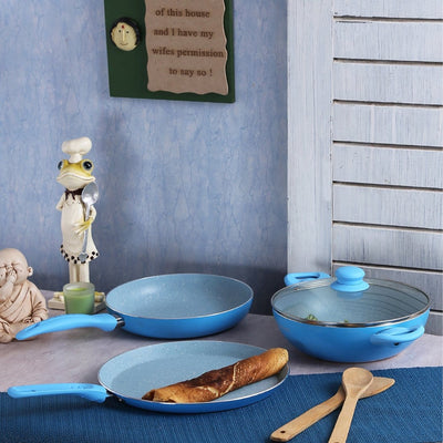 French Blossom Aluminium Nonstick Cookware Set, 4Pc, Blue-Cookware