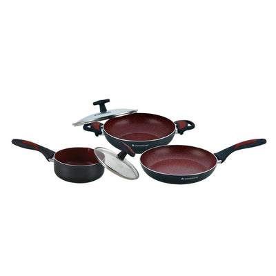 Burlington Aluminium Nonstick Cookware Set, 5Pc, Red And Black-Hot-Sets