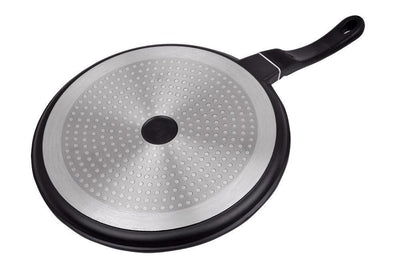 Inducta Die-cast Aluminium Nonstick Dosa Tawa- 28cm, 2.3mm Body,3.8mm Bottom, Black-Cookware
