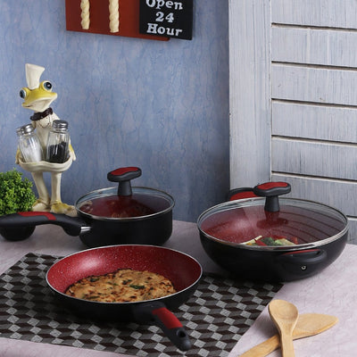 Wonderchef Burlington Set - Red And Black-Cookware