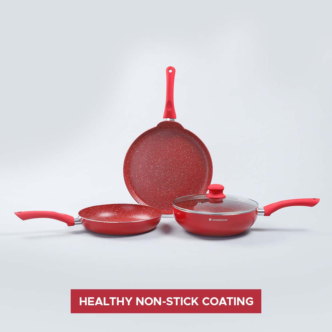 Royal Velvet Plus Aluminium Nonstick Cookware Set, 4Pc, Red