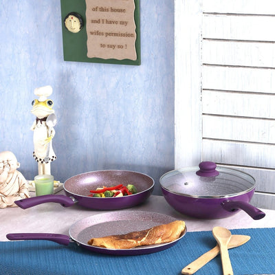 Royal Velvet Plus Aluminium Nonstick Cookware Set, 4Pc, Purple + Nutri-Blend Black-Hot-Sets