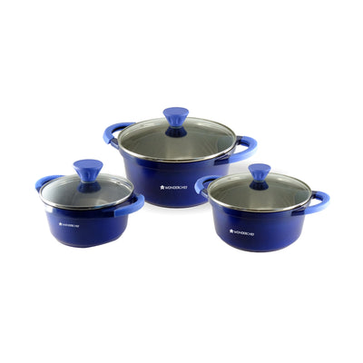 Grand Ceramica Aluminium Casserole Set, 6Pc, Blue-Hot-Sets