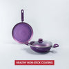 Orchid Aluminium Nonstick Cookware Set ( Wok + Dosa Tawa ), 3Pc, Purple