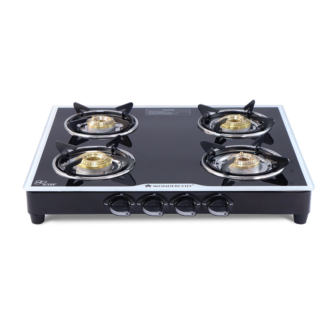 Platinum 4 Burner Glass Cooktop, Black 6mm Toughened Glass with 1 Year Warranty, Ergonomic Knobs, Stainless Steel Drip Tray, Manual Ignition Gas Stove