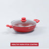 Royal Velvet Nonstick Wok with Lid- 26cm, 3.2L, 3mm, Red