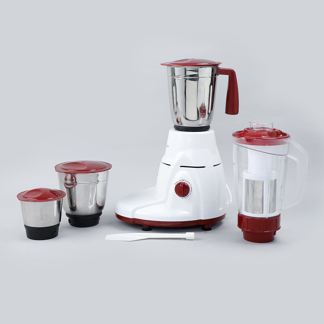 Power 780W Mixer Grinder with 4 Jars (White & Brown)