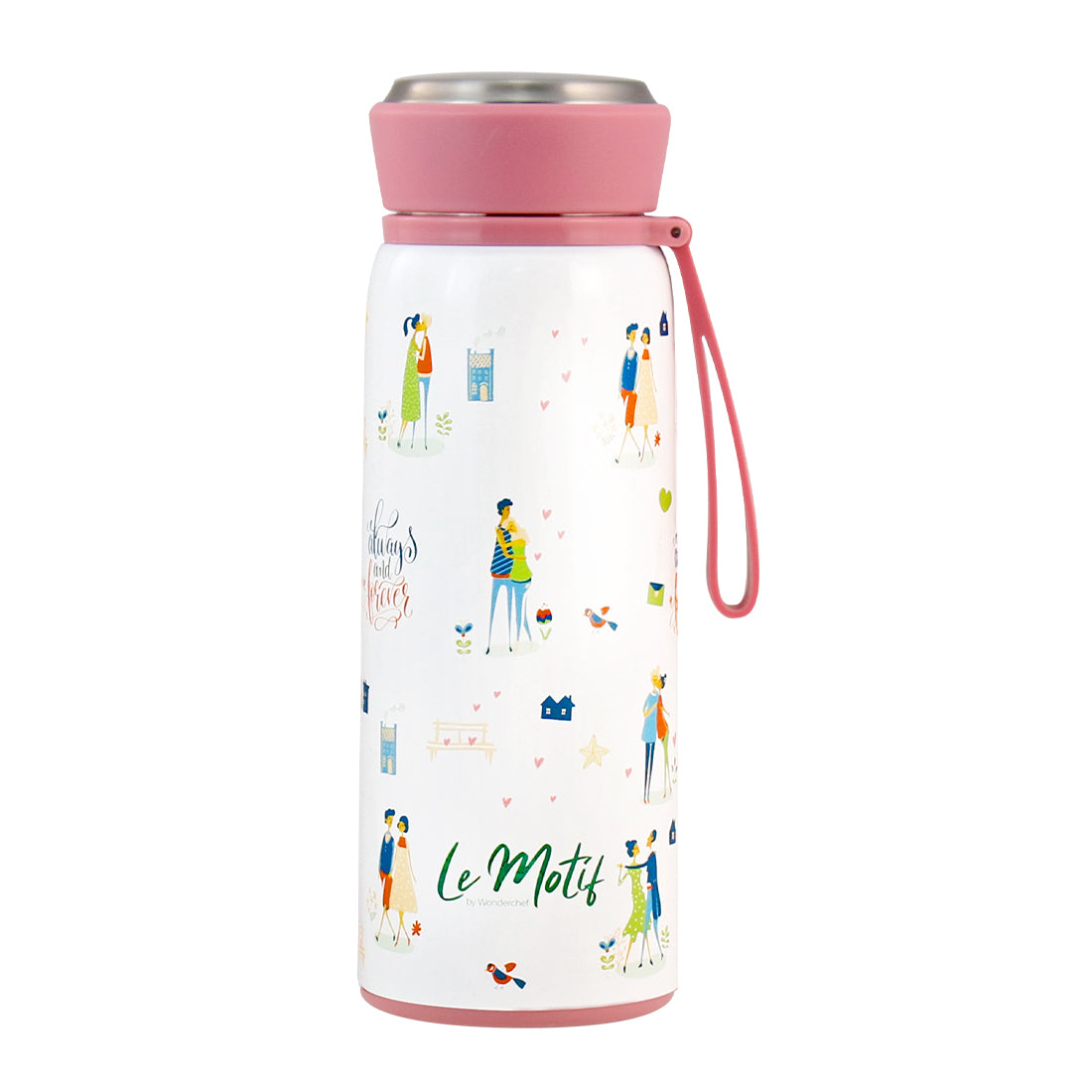 Le-motif_L'amour Stainless Steel Single Wall Water Bottle, 420ml