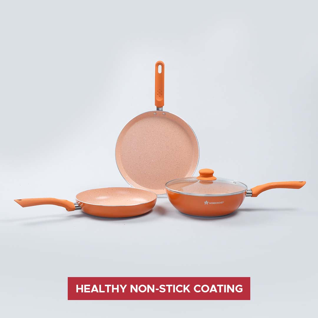 Royal Velvet Plus Aluminium Nonstick Cookware Set, 4Pc, Orange