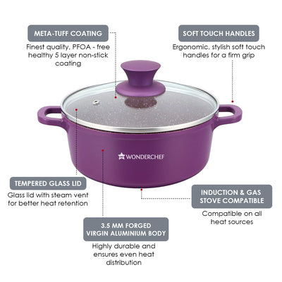 Granite Non-stick 6-piece Casserole Set with Lids, Induction bottom, Soft-touch handles, Virgin grade aluminium, PFOA/Heavy metals free, 3.5mm, 2 years warranty, Purple-Hot-Sets