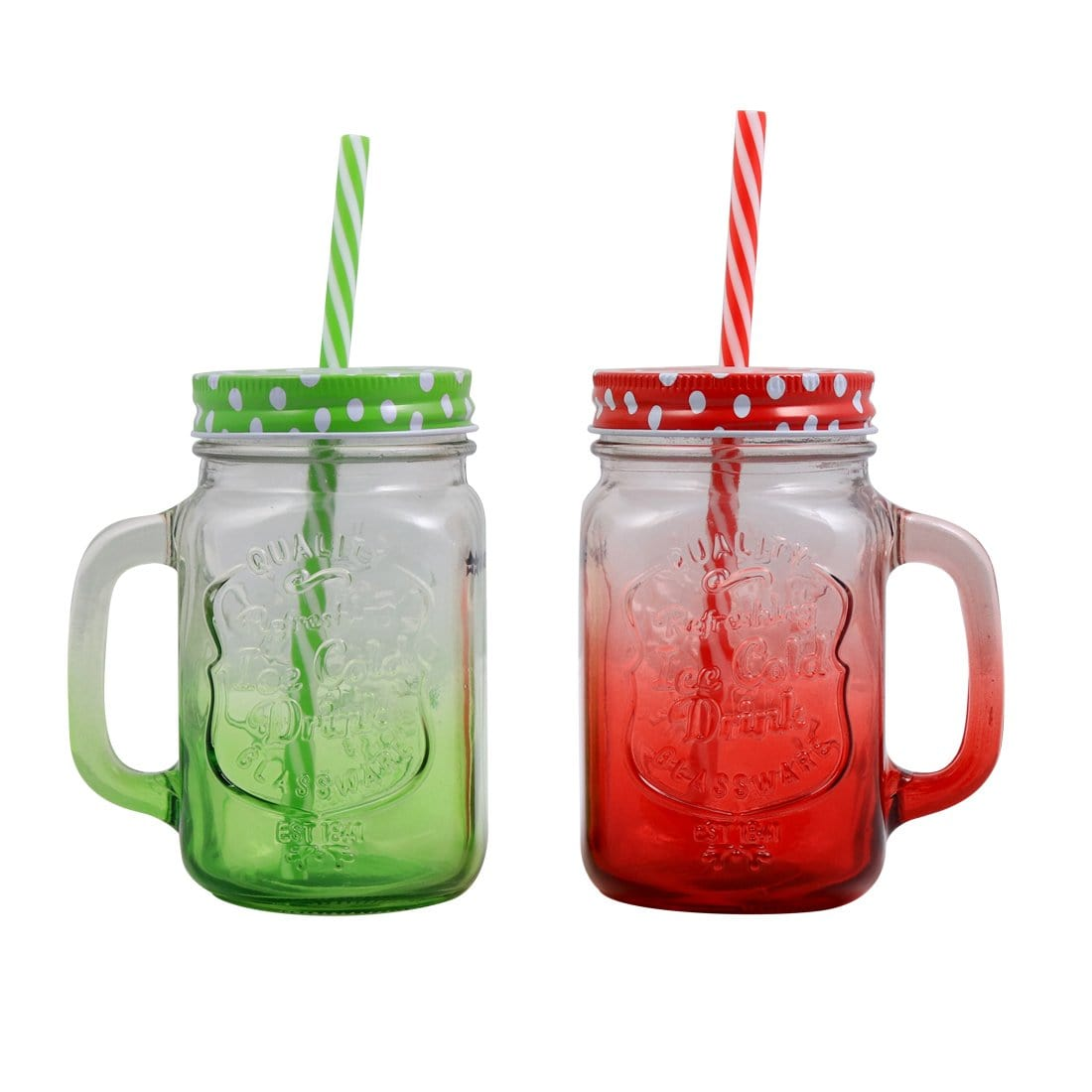 Mason Jar Set 450Ml (Red And Green)