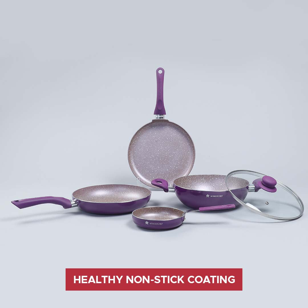 Royal Velvet Non-stick 5-piece Cookware Set (Fry Pan with Lid, Wok, Dosa Tawa, Mini Fry Pan) Induction bottom, Soft-touch handles, Virgin grade aluminium, PFOA/Heavy metals free, 3 mm, 2 years warranty, Purple