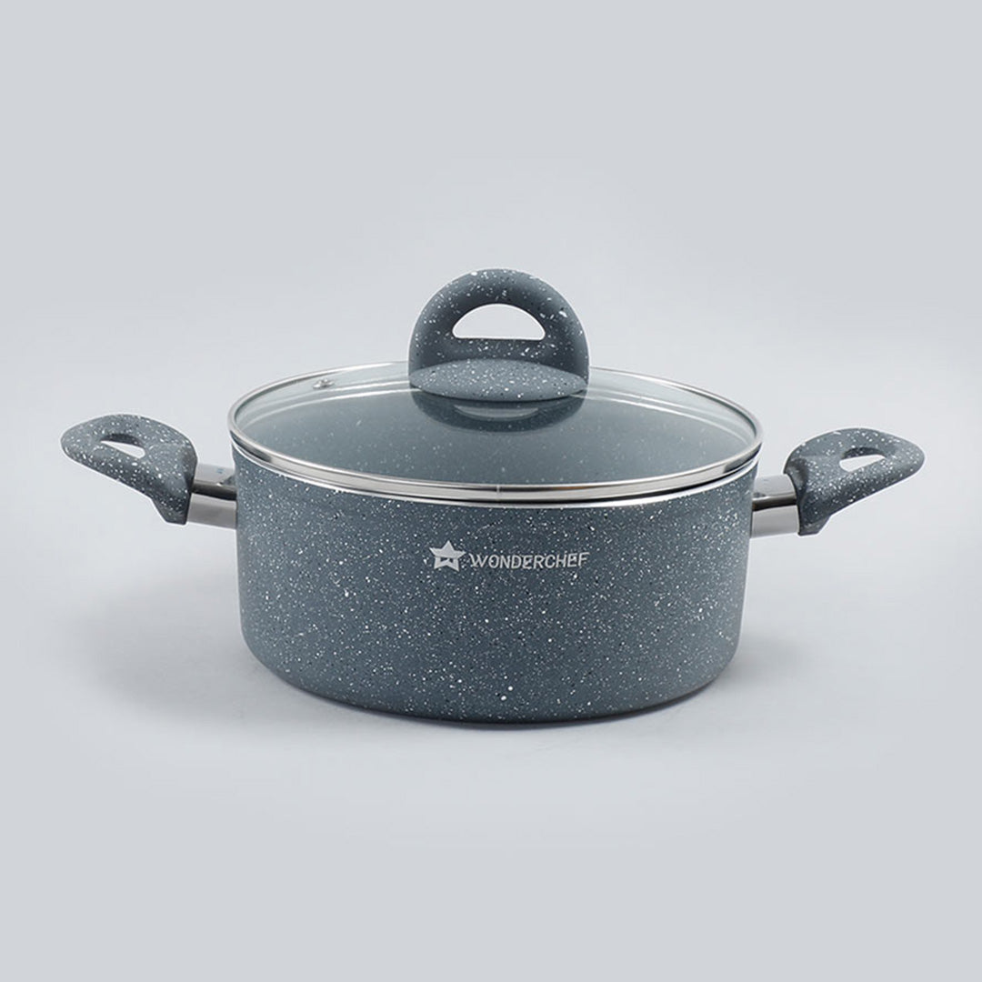 Granite Non-stick Casserole, Induction bottom, Soft-touch handles, Virgin grade aluminium, PFOA/Heavy metals free, 3.5mm, 2 years warranty, Grey