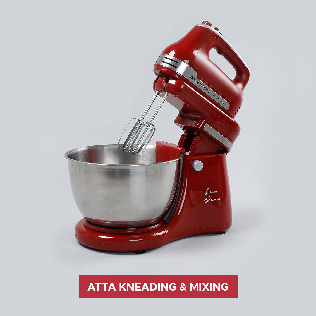 Crimson Edge Stand Mixer And Dough Kneader (3 Attachment), 5 Speed Setting,  4.5L Bowl, 300W
