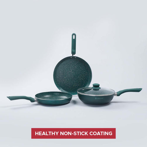 Royal Velvet Plus Aluminium Nonstick Cookware Set, 4Pc, Olive Green