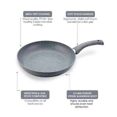 Granite Non-stick Fry Pan, Induction bottom, Soft-touch handles, Virgin grade aluminium, PFOA/Heavy metals free, 3.5mm,2 years warranty, Grey-Cookware