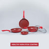 Royal Velvet Non-stick 5-piece Cookware Set (Fry Pan with Lid, Wok, Dosa Tawa, Mini Fry Pan) Induction bottom, Soft-touch handles, Virgin grade aluminium, PFOA/Heavy metals free, 3 mm, 2 years warranty, Red