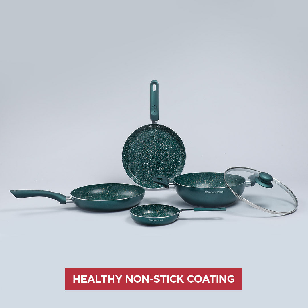 Royal Velvet  Aluminium Nonstick Cookware Set, 5Pc, Olive Green,