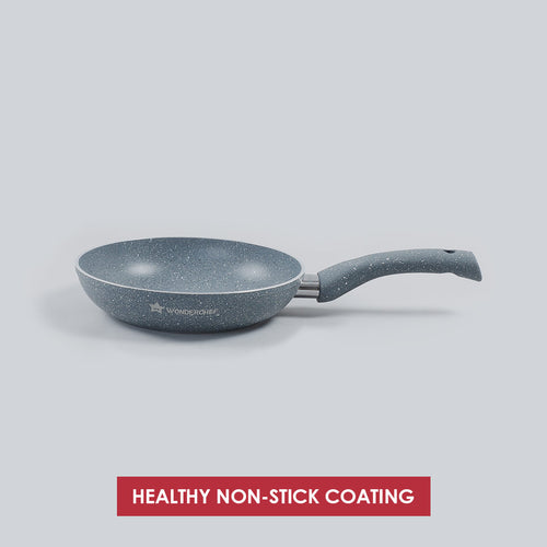 Granite Non-stick Fry Pan, Induction bottom, Soft-touch handles, Virgin grade aluminium, PFOA/Heavy metals free, 3.5mm,2 years warranty, Grey